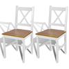 vidaXL Blagovaonska stolica tankih linija, 2 komada, bijela i boja drva
