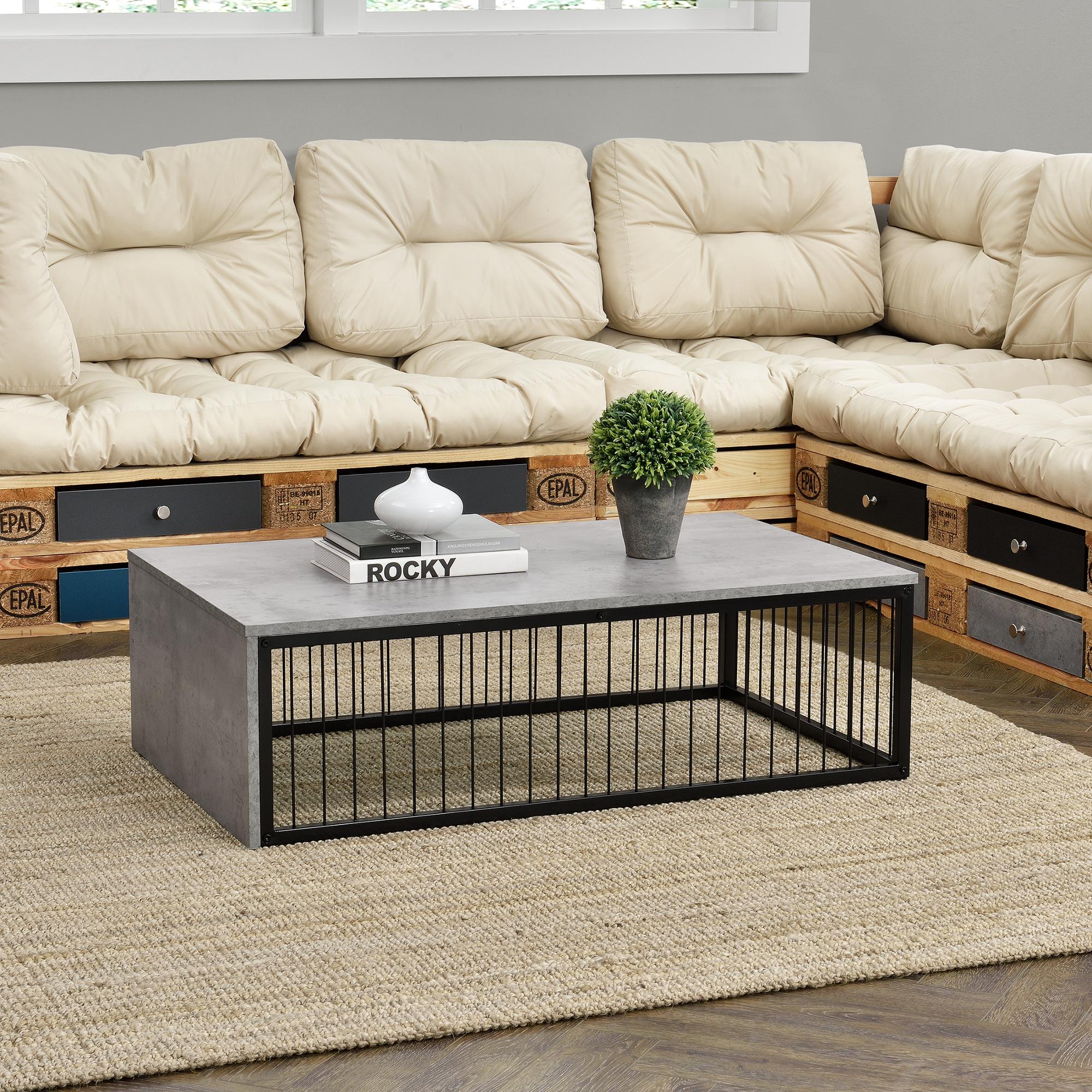 [en.casa]® Sodobna klubska miza - MDF-plošča - s kovinskim ogrodjem, imitacija betona - 100 cm x 60 cm x 30 cm