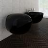 vidaXL Set WC školjke i bidea od keramike, Crni
