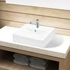 vidaXL Bijeli Keramički Pravokutni Umivaonik sa Zaštitom od Prelijevanja Vode