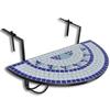 vidaXL Polukružni viseći stol uzorkom mozaika, plave i bijele boje