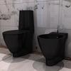vidaXL Keramički set - samostojeća WC školjka i bide, Crni