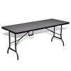 VIDAXL sklopivi vrtni stol HDPE imitacija ratana 180cm, crni