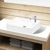 vidaXL Bijeli keramički umivaonik with Faucet Hole White