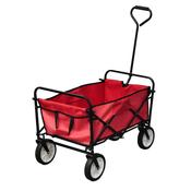 VIDAXL zložljivi ročni voziček / prikolica, rdeč
