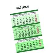 Kalendar trodjelni zeleni 2016