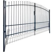 VIDAXL dvostruka vrata ograde sa šiljastim vrhovima, 400 x 225cm