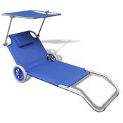 VIDAXL zložljivi aluminijasti ležalnik s strehico in kolesi, moder