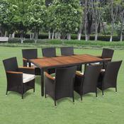 VIDAXL vrtno pohištvo iz ratana 8 stolov in miza z leseno ploščo