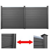 vidaXL Komplet 2 sivih kompozitnih kvadratnih ograda 392 cm