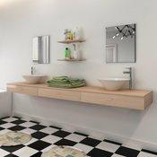 VIDAXL komplet kopalniškega pohištva + umivalnika (7-delni), bež