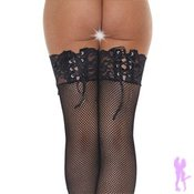 Black Fishnet Stockings with Lace Ribbon Tops