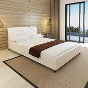 VIDAXL bela postelja iz umetnega usnja z gumi 140x200 cm
