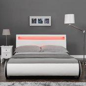 Corium® Moderni tapecirani bracni krevet - umjetna koža - sa LED atmosfernim svijetlom - 180x200cm (bijelo)