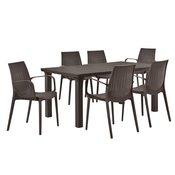 [casa.pro]® Vrtni stol sa 6 stolica sa naslonom za ruke- sa ratan efektom (smeda)