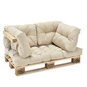[en.casa]® Set jastuka za indoor namještaj od paleta - (1 x Jastuk za sjedenje + 4 x jastuk za naslon) bež