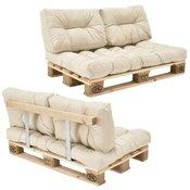 [en.casa]® Namještaj od paleta - sjedeći namještaj/sofa (bež, 1 x paleta, 3 x jastuk, 1 x naslon za leđa)