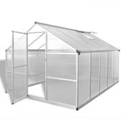 vidaXL Armirani aluminijski staklenik s ugrađenim temeljem 7,55 m2