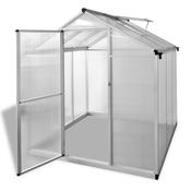 vidaXL Armirani aluminijski staklenik s ugrađenim temeljem 3,46 m2