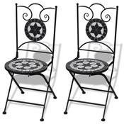 VIDAXL 2 stolice s motivom mozaika 60 crne/bijele