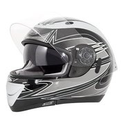 AKIRA motoristična čelada IZUMI, črna-bela-siva