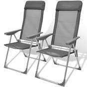 VIDAXL zložljivi nastavljivi aluminijasti stoli za kampiranje, 2 kosa