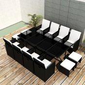 vidaXL 33 Delni Zunanji Jedilni Komplet Pohištva Črne Barve Poli Ratan