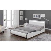 Corium® Moderni tapecirani bracni krevet - umjetna koža - sa LED atmosfernim svijetlom - 140x200cm (bijelo)