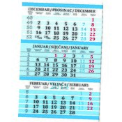 Kalendar trodjelni plavi 2016