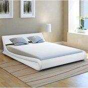 vidaXL Zvit posteljni okvir 140x200 cm Umetno Usnje Bele Barve