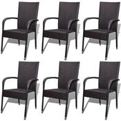 vidaXL Vrtne Blagovaonske stolice 6 kom Poliratan Smede (3x42487)
