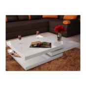 VIDAXL klubska mizica 3 plasti, bela (visoki sijaj)
