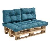 [en.casa]® Namještaj od paleta - sjedeci namještaj/sofa (tirkizna, 2 x paleta, 3 x jastuk, 1 x naslon za leda)