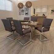 VIDAXL moderni jedilni stoli 6 kosov, rjavo umetno usnje