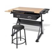 VIDAXL radni stol s nagibnom pločom i stolicom 118 x 62 x 68.5 -106 cm