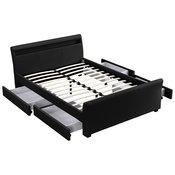 Corium® Moderni tapecirani bracni krevet - umjetna koža - sa LED atmosfernim svijetlom - 140x200cm (crno)
