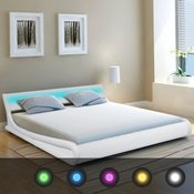 vidaXL posteljni okvir LED 180x200 cm Umetno Usnje Bele Barve