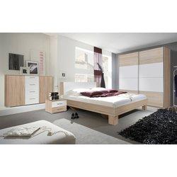 HELVETIA spalnica z drsnimi vrati Vera, bela-hrast